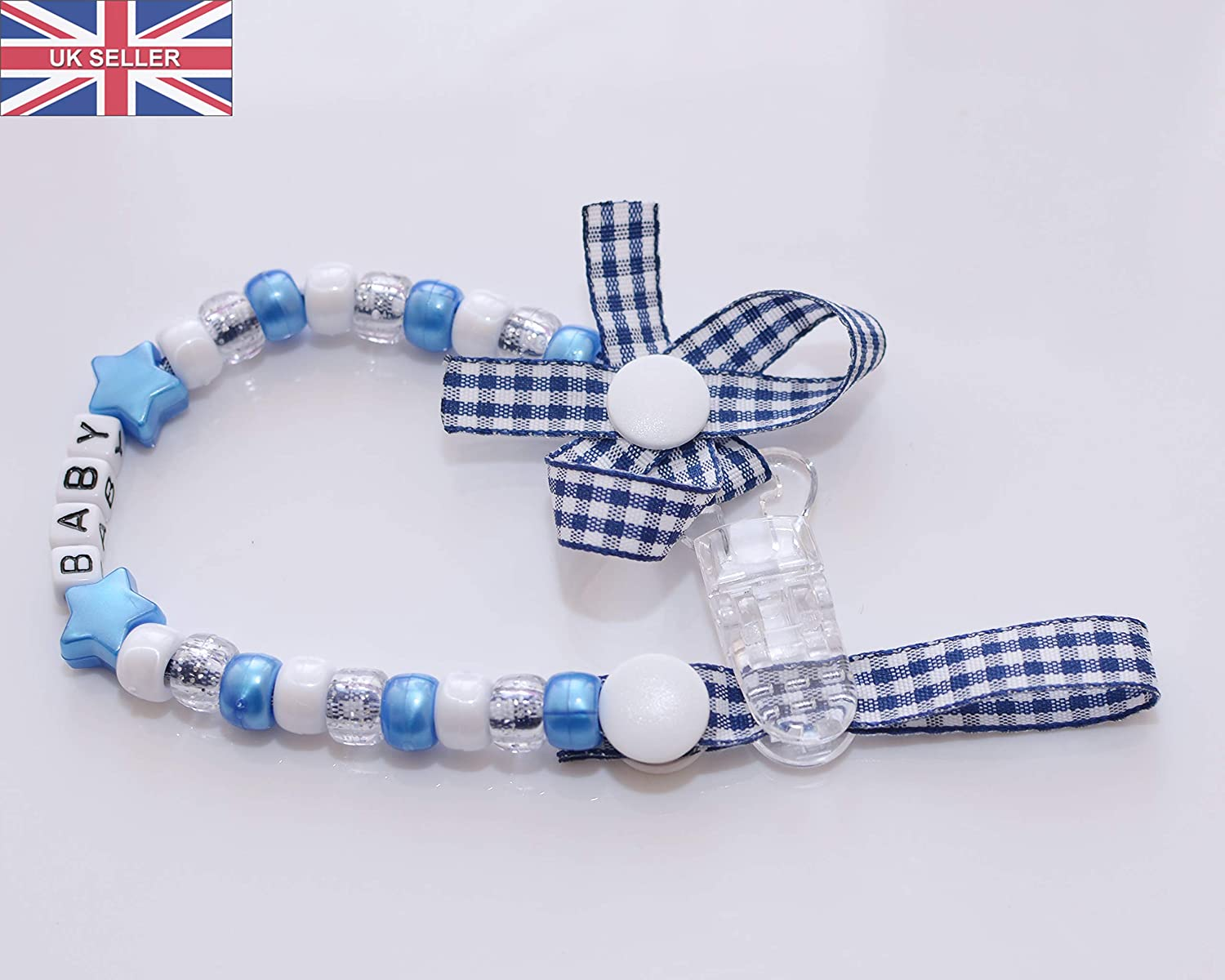Blue Personalised Dummy Clip More Colours Available Multiple Designs
