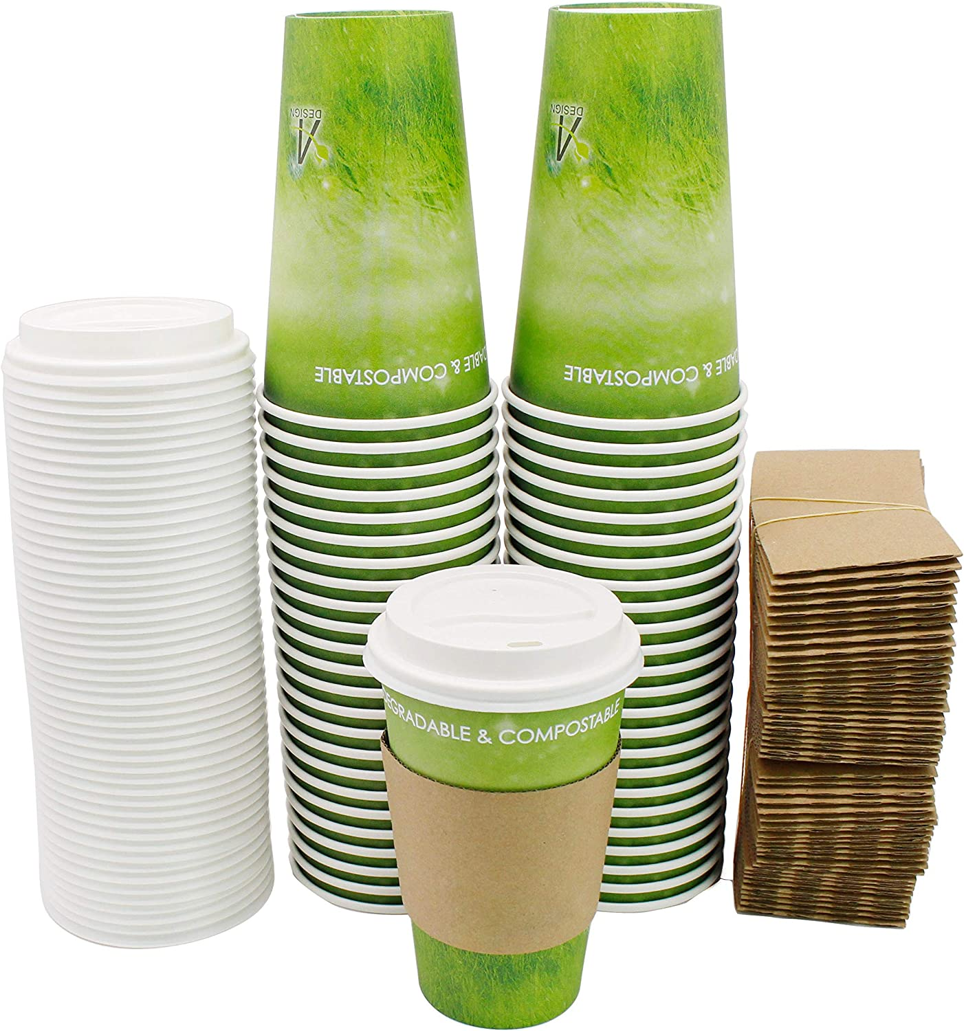 Special Green Grass Design Paper Hot Coffee Cups with Cappuccino Lids and Protective Corrugated Cup Sleeves, Eco-friendly,100% Blodegradable&Compostable 50 Count (Green grass, 16 oz)