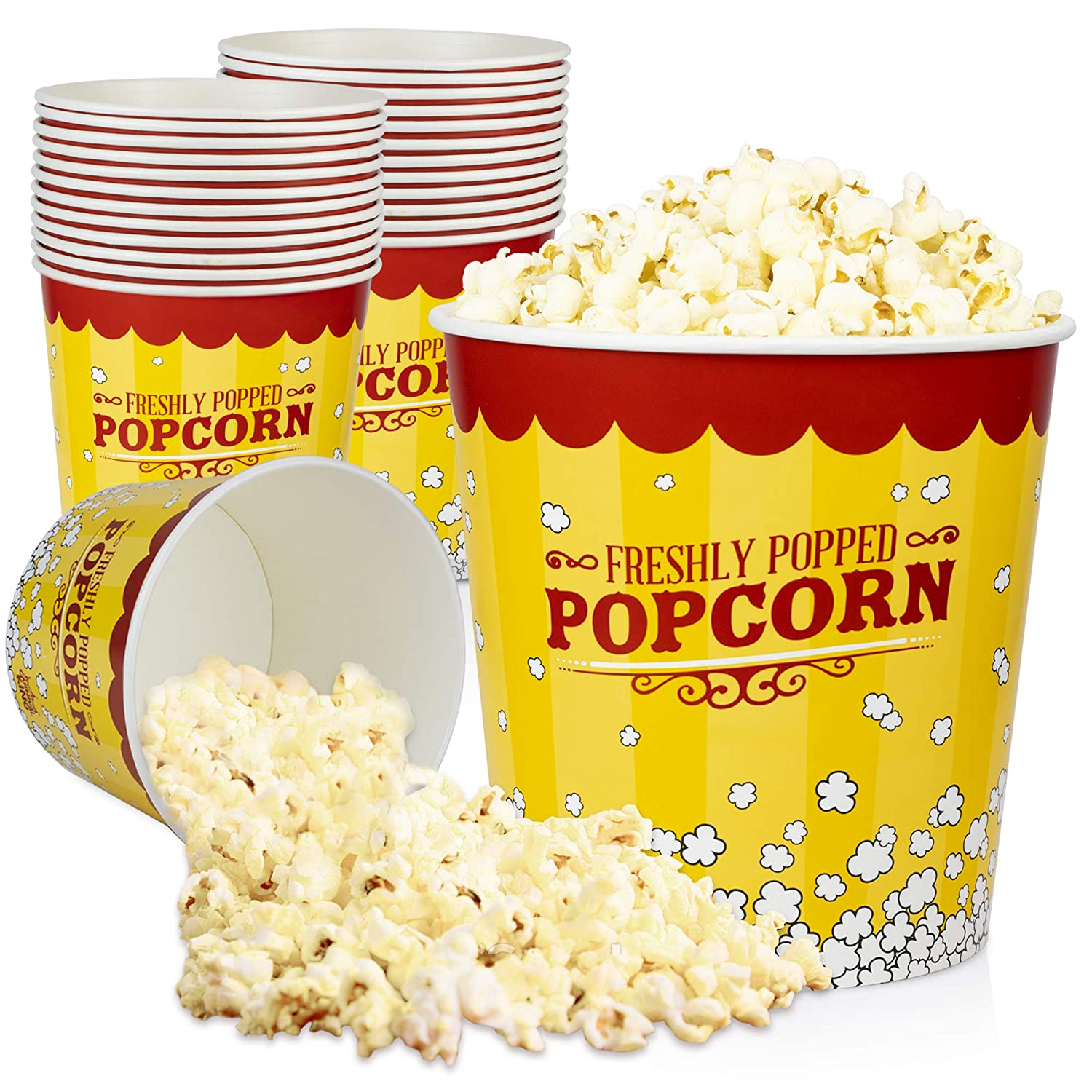 [25 Pack] Popcorn Buckets Disposable - 130 Oz Yellow and Red Paper Popcorn Containers - Solo Popcorn Tubs for Home and Theater Movie Night - Popcorn Cups for Circus, Carnival Theme Party Decorations
