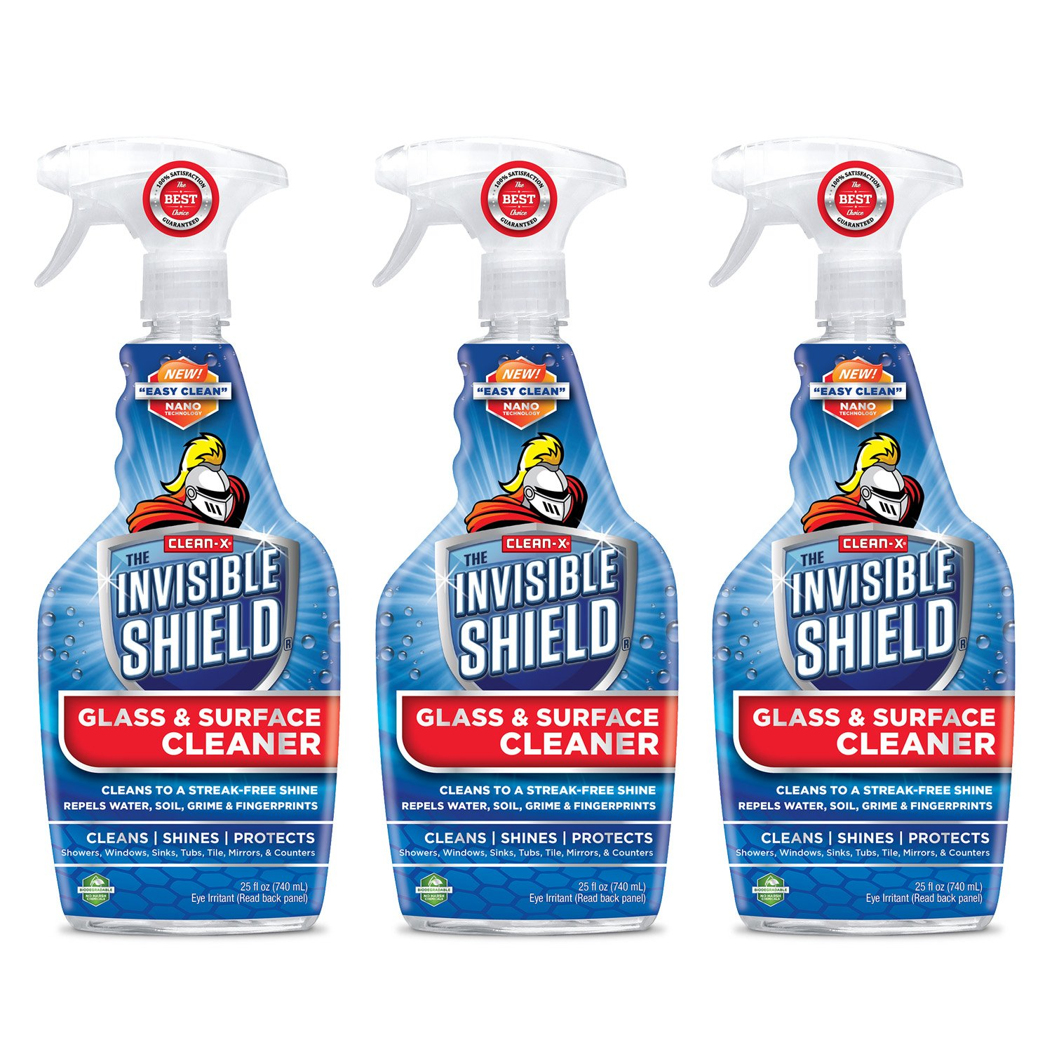 Invisible Shield® Glass & Surface Cleaner - 25 oz- 3 Pack - Cleans, Seals and Protects from Water Spots by Clean-X® Invisible Shield®