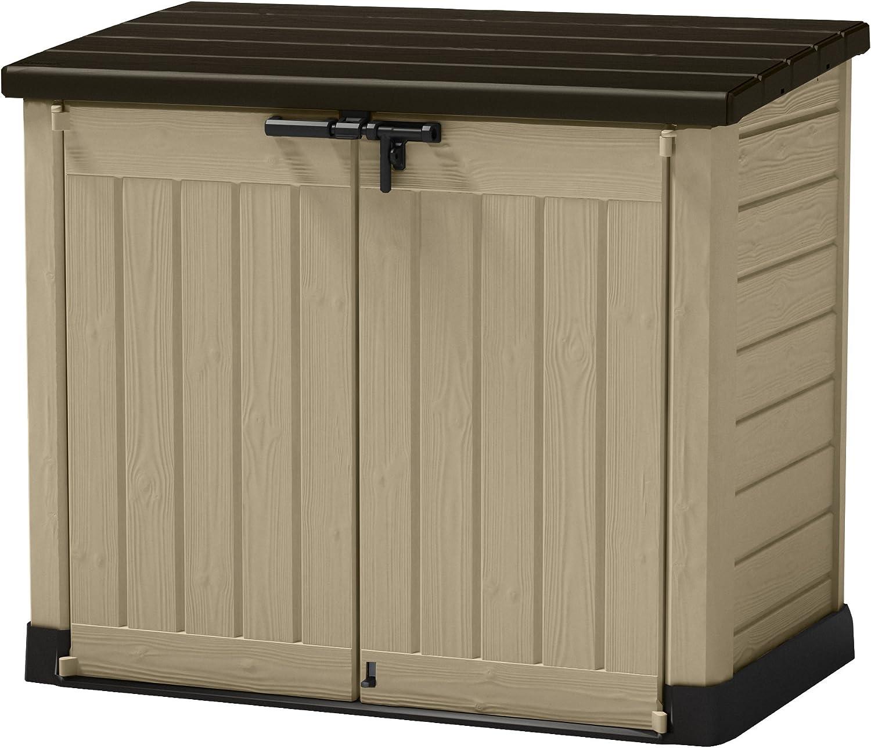 Keter - Cobertizo de almacenamiento para jardín de plástico al aire libre, Beige/Marrón, 145.5 x 82 x 125 cm (L x H x W)