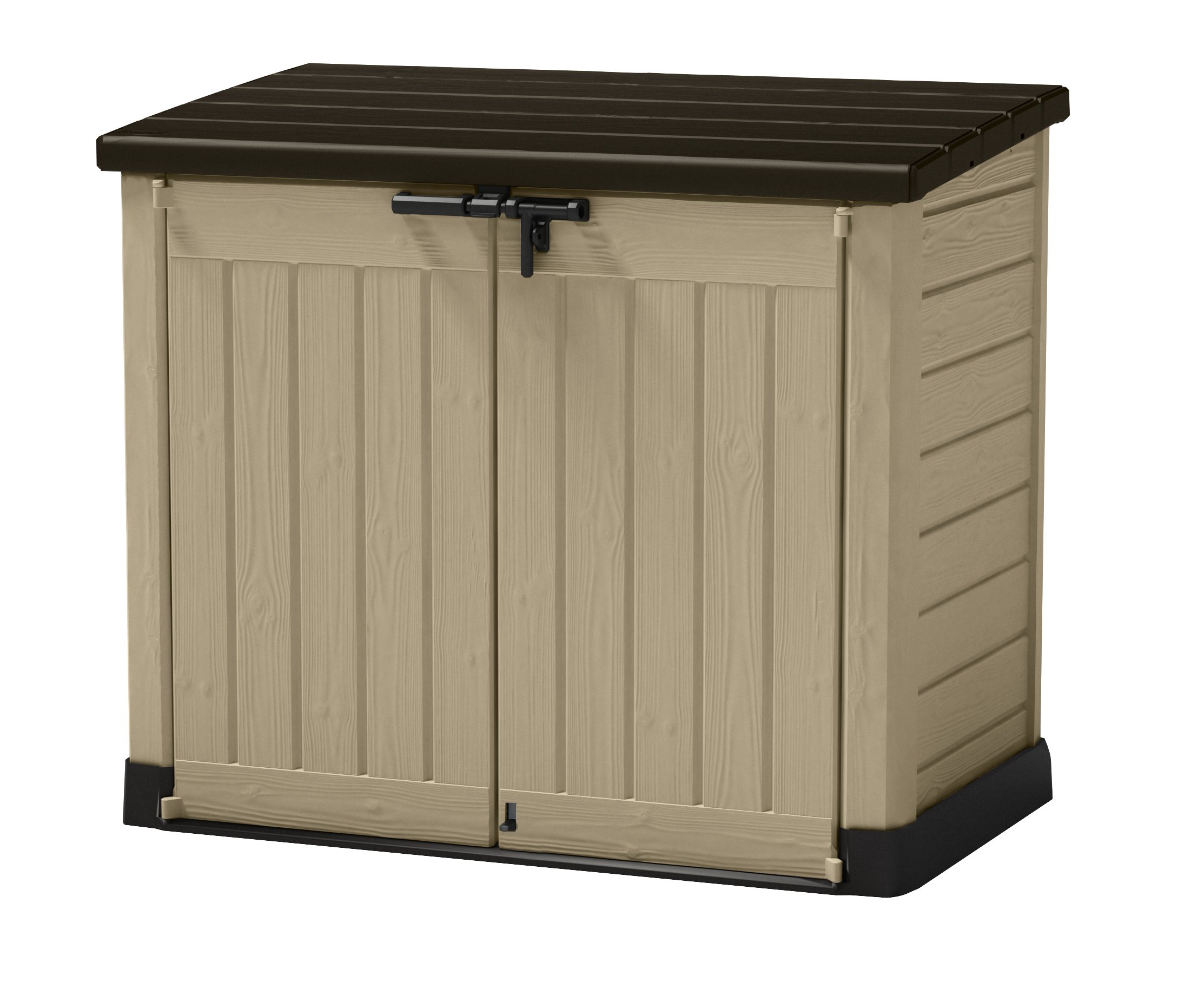 Keter 226814 Store-It-Out MAX 4.8 x 2.7 Outdoor Resin Horizontal Storage Shed, 42 cu.ft, Beige/Brown by Keter