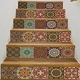 Frolahouse Arabischen Stil Keramik Fliesen Muster Treppen Aufkleber  Selbstklebende DIY Entfernbare Wandtattoos 18x100 Cm, 6