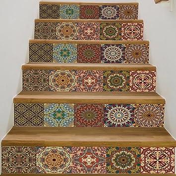 Fantastisch Frolahouse Arabischen Stil Keramik Fliesen Muster Treppen Aufkleber  Selbstklebende DIY Entfernbare Wandtattoos 18x100 Cm, 6