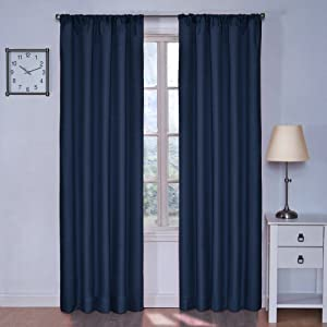 ECLIPSE Kendall Thermal Insulated Single Panel Rod Pocket Darkening Curtains for Living Room, 42