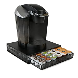 Mind Reader MTRAY-BLK 36 Capacity K-Cup Coffee Pod Storage Organizer Drawer Metal Mesh, Black