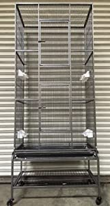 """Mcage New Extra Large Wrought Iron 3 Levels Ferret Chinchilla Sugar Glider Cage 30"""" Length x 18"""" Depth x 72"""" Height W/Stand on Wheels"""