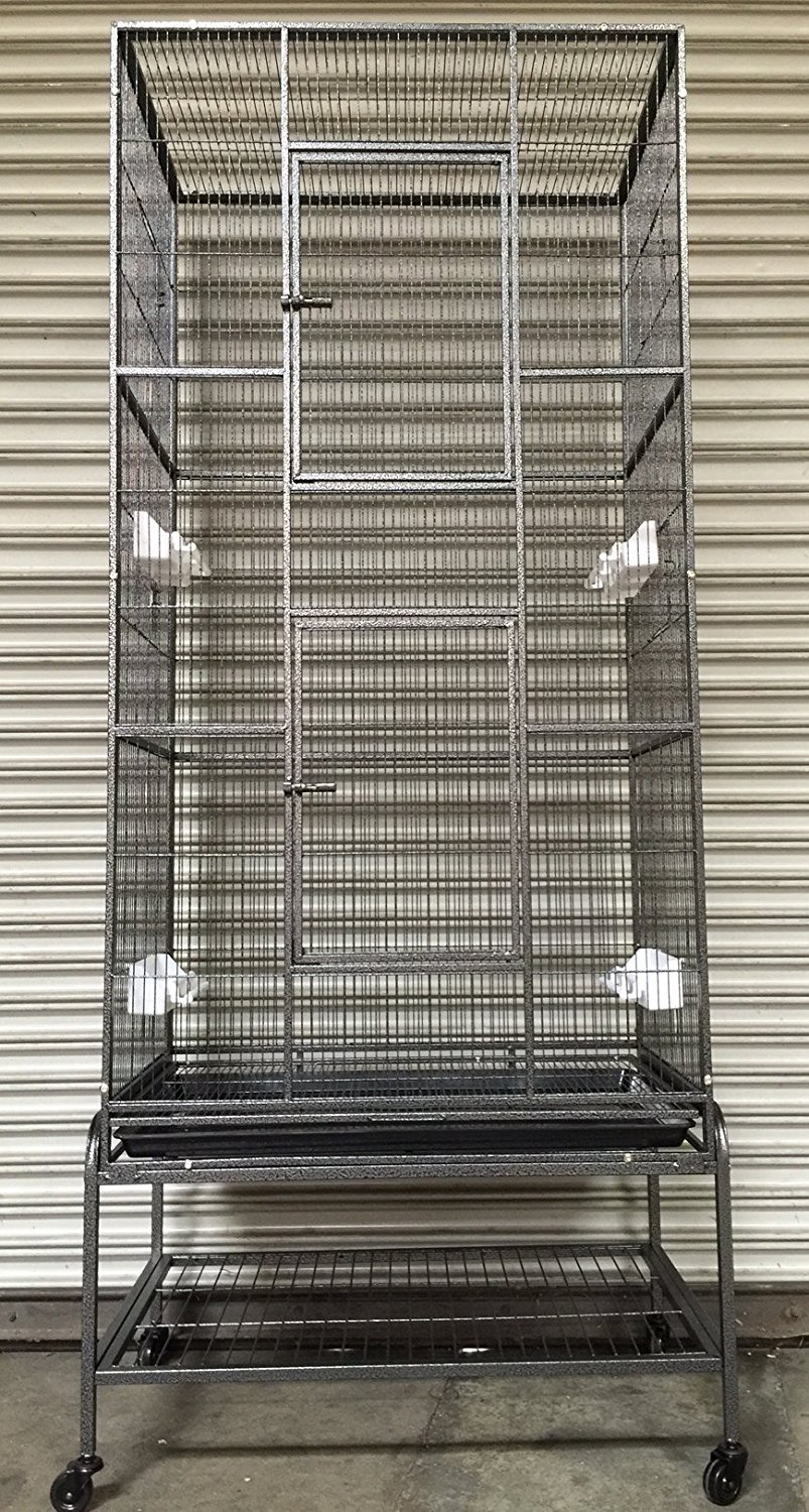 Mcage New Extra Large Wrought Iron 3 Levels Ferret Chinchilla Sugar Glider Cage 30'' Length x 18'' Depth x 72'' Height W/Stand on Wheels
