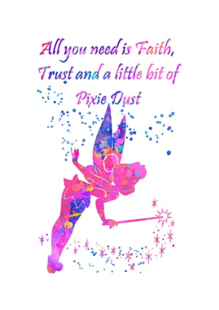 Disney Tinkerbell Quote Peter Pan Canvas Wall Art Picture