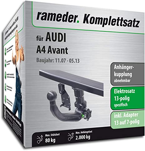 rameder Juego completo, remolque extraíble + 13POL Elektrik para Audi A4 Avant (117924 –