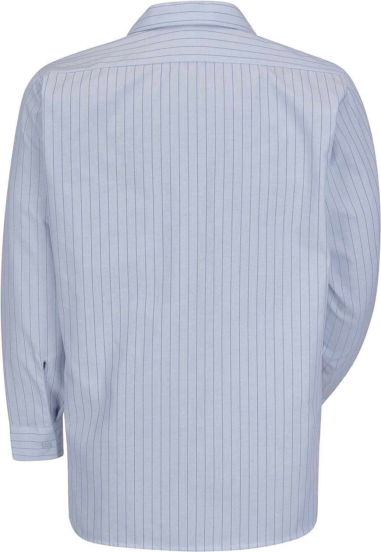 Red Kap mens Long Sleeve Industrial Stripe Work Shirt Light Blue//Navy Stripe Medium