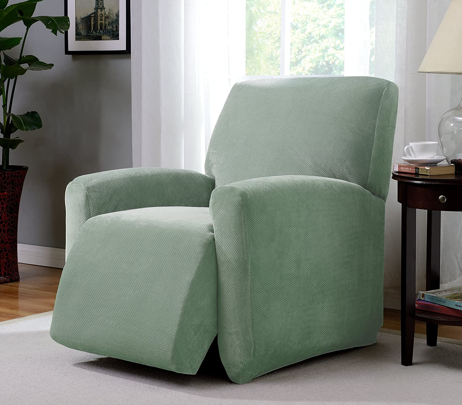 Madison PIQ-LGRECL-SE Stretch Pique Large Recliner Slipcover Stretch Pique Seaglass,Large Recliner Madison Industries