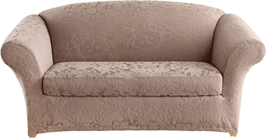 Sure Fit Toupe mushroom Stretch Pique  Sofa surefit slipcover
