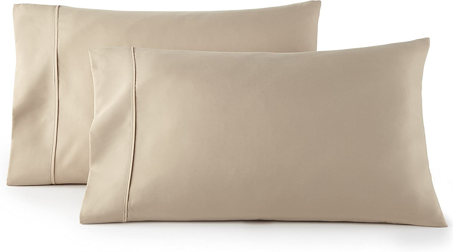 HC COLLECTION 1500 Thread Count Egyptian Quality 2pc Set of Pillow Cases, Silky Soft & Wrinkle Free-King Size, Taupe