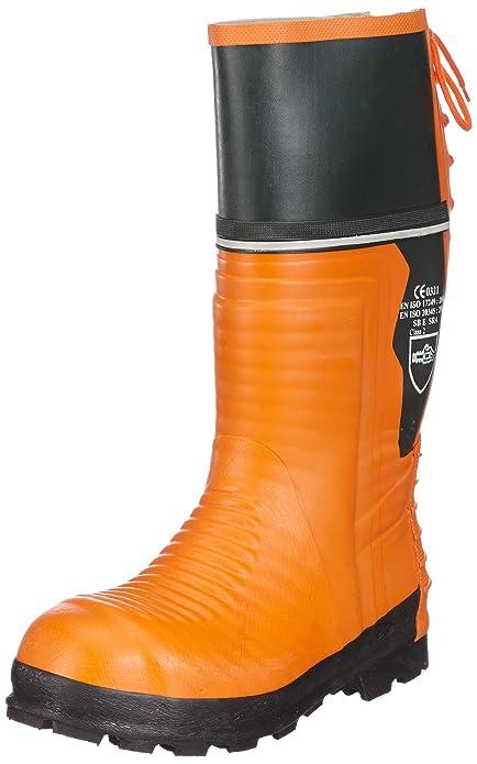 Schnittschutz-Gummistiefel - Botas de goma con protección contra cortes para hombre, color naranja