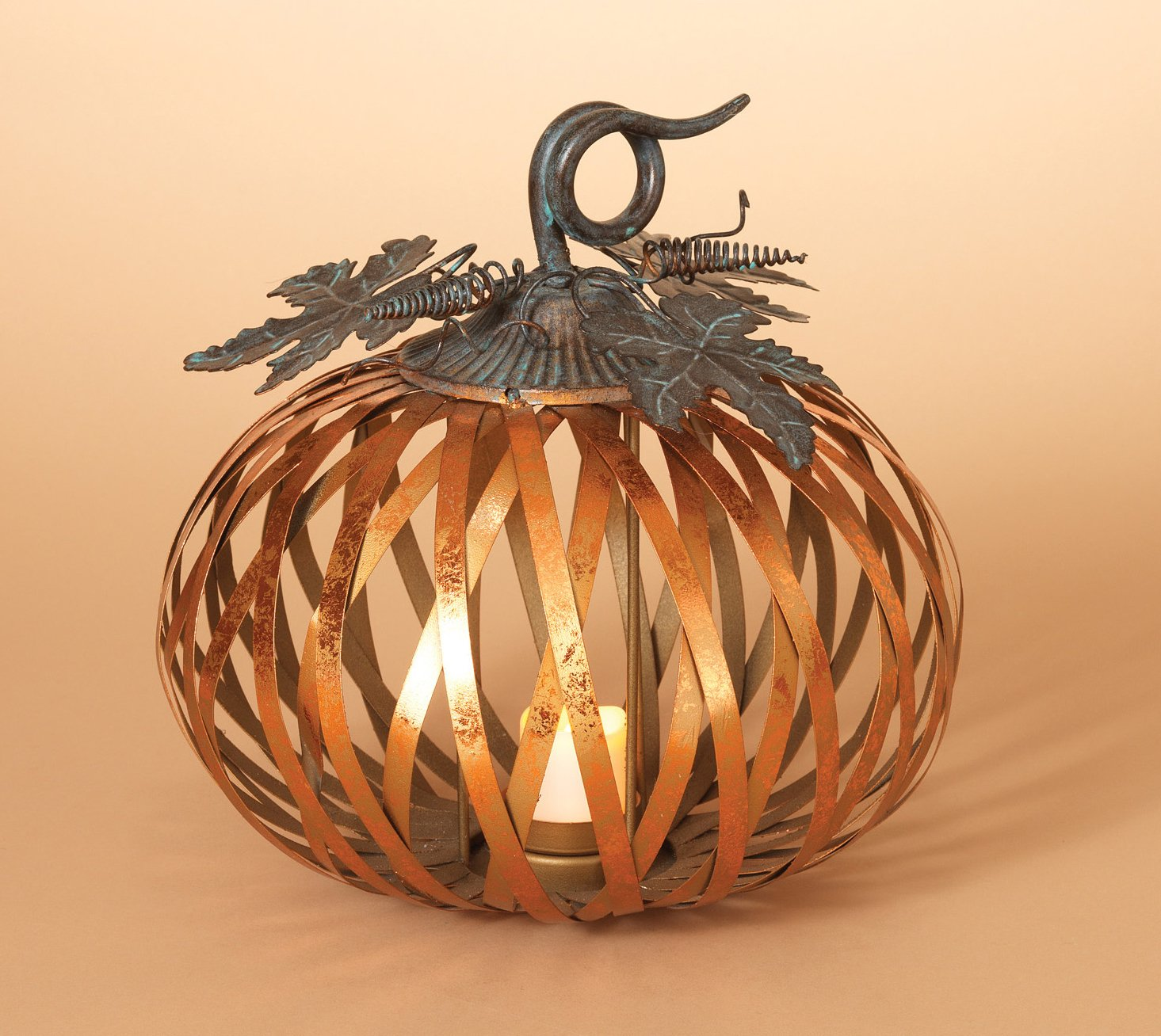 One Holiday Lane Metal Harvest Pumpkin Candle Holder with Metallic Copper Finish - Tabletop Fall Candle Holder Decoration