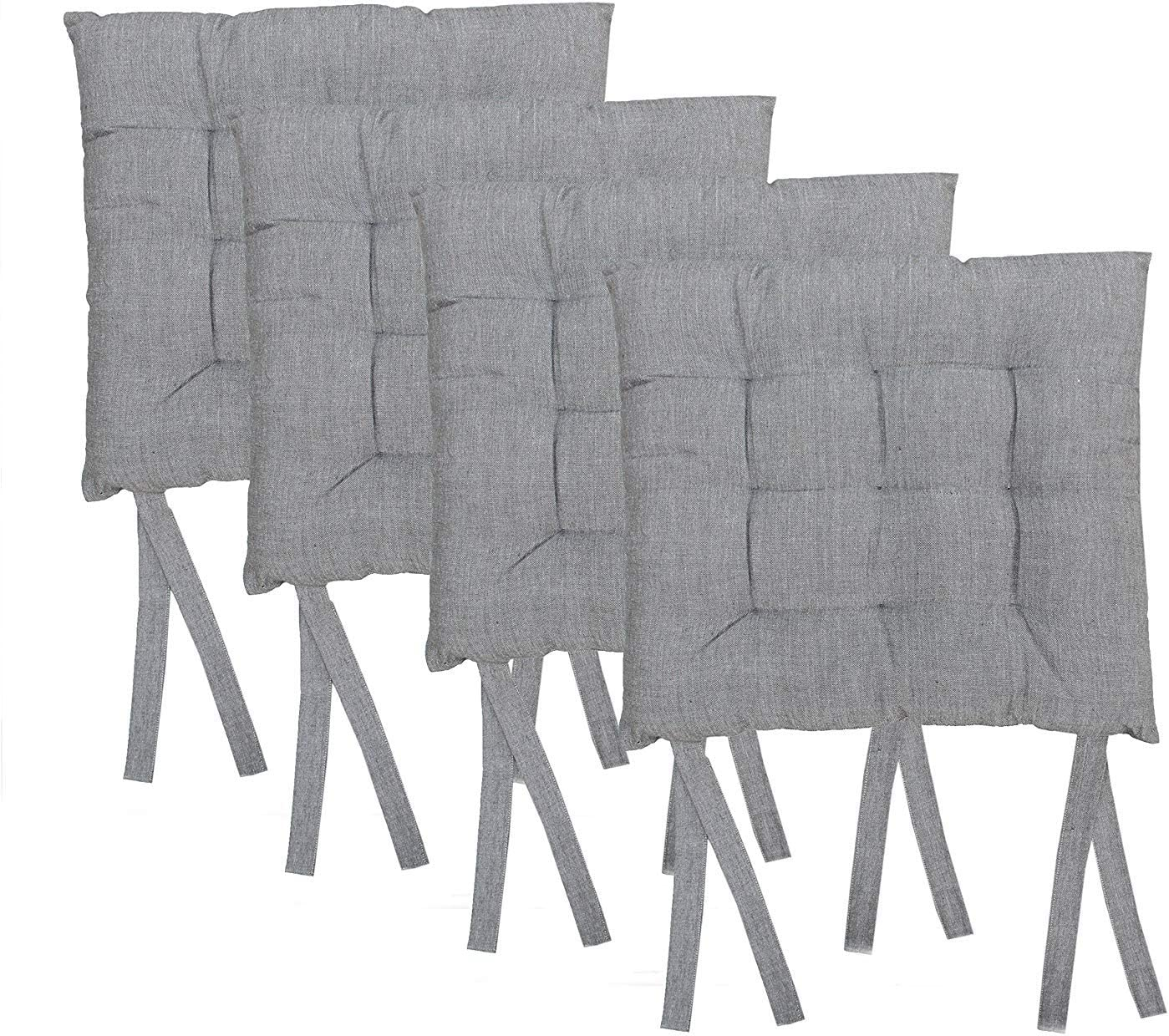 Cotton Craft - 4 Pack - White and Grey Cotton Chambray Dining Chair Pad Cushion with Ties- Classic Design- Easy Fit to Chair