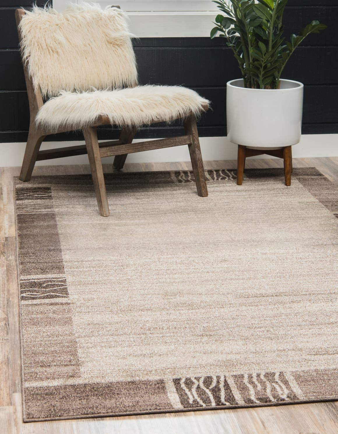 Unique Loom Del Mar Collection Contemporary Transitional Light Brown Area Rug 3 3 x 5 3