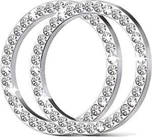2 Pcs Crystal Rhinestone Ring For Car Decor, Bling Decor Car Emblem Sticker, Push to Start Button,Key Ignition Starter And Knob Ring, AC Control Knobs, Volume And Tune Knobs, Gift For Her (Silver)