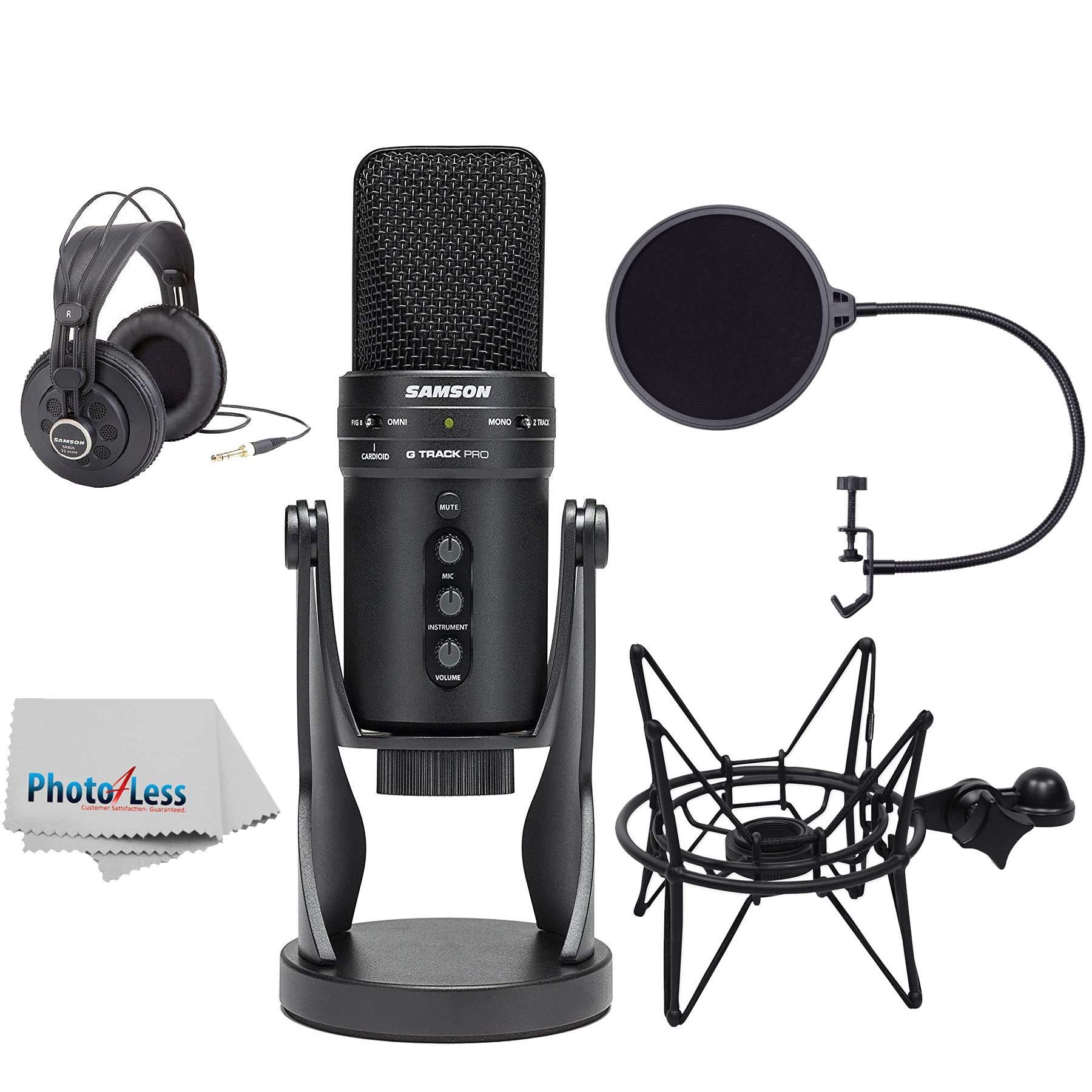 Samson G-Track Pro Micrófono de condensador USB profesional con auriculares + Samson Shockmount & Pop Filter + Paño limp