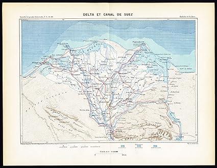 Suez Canal On Africa Map.Amazon Com Antique Map Suez Canal Delta Egypt Africa Reclus Perron
