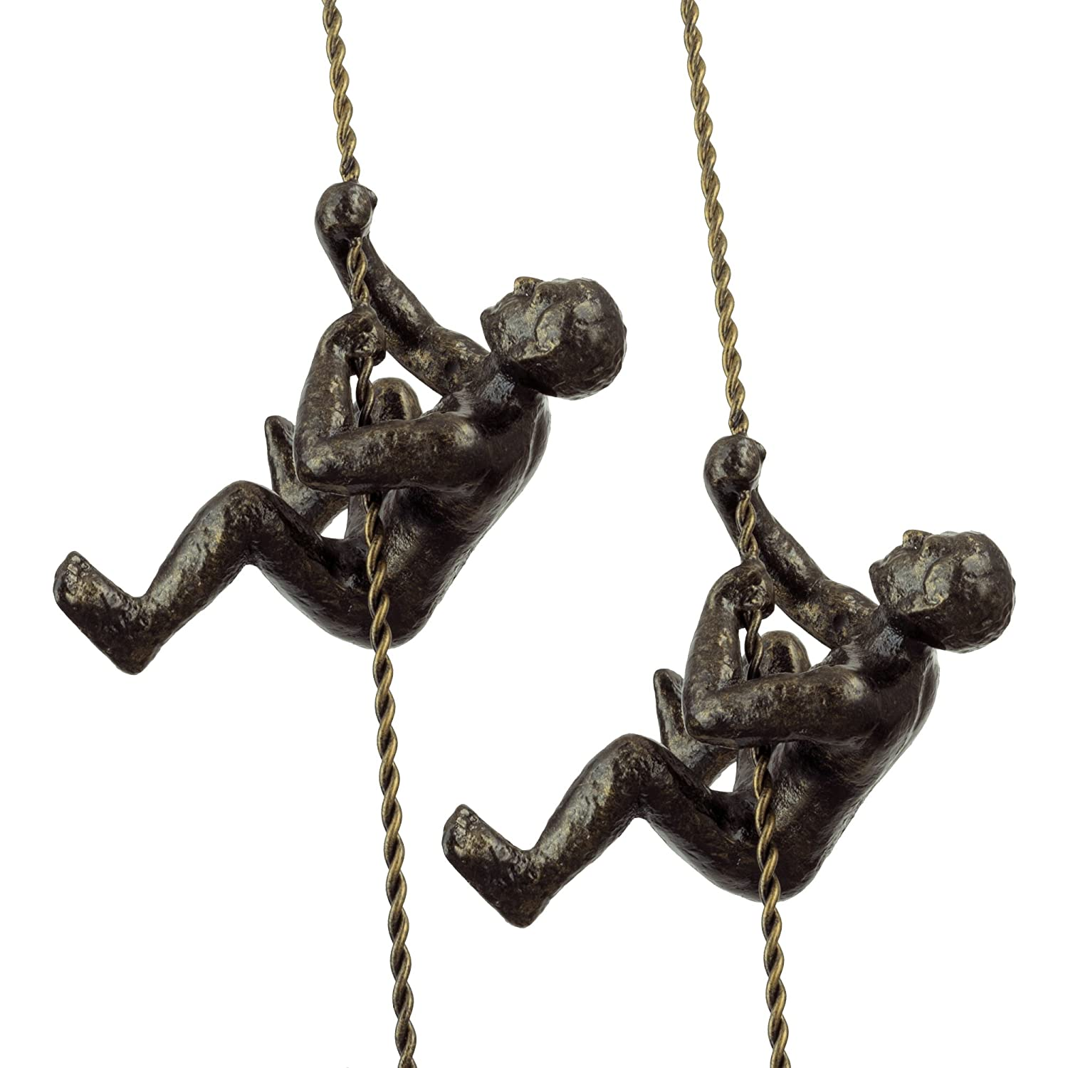 "Kira Home Titan 6"" Climbing Man Metal Wall Sculpture, Hand-Painted Charcoal Gold Finish (Set of 2)"