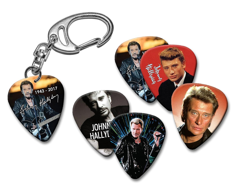 Johnny Hallyday Memorial Keyring Porte-clés /& 5 X Guitar médiators guitare plectre We Love Guitars