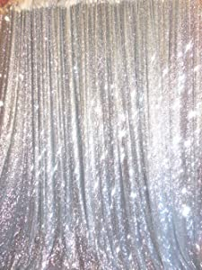 TRLYC Sparkly Seamless Silver 8FT x 8FT Sequin Wedding Backdrop One Piece Design