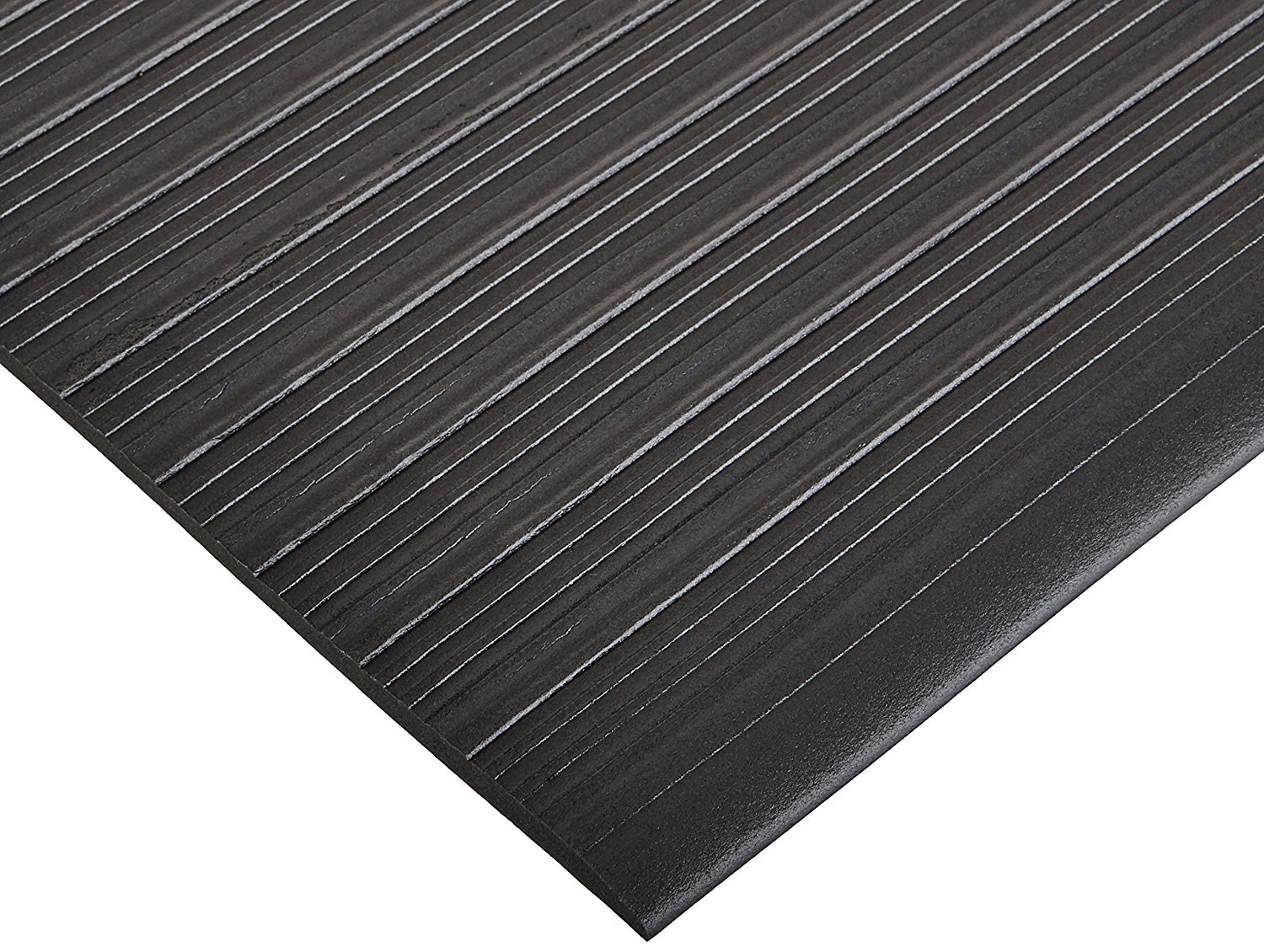 Bertech Anti Fatigue Vinyl Foam Floor Mat, 3' Wide x 20' Long x 3/8'' Thick, Ribbed Pattern, Black (Made in USA) by Bertech (Image #4)
