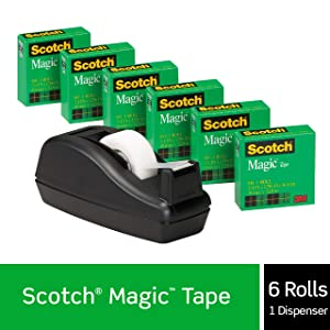 Scotch Magic Tape with Black Dispenser, Numerous Applications, Engineered for Office and Home Use, 3/4 x 1000 Inches, Boxed, 6 Refill Rolls, 1 Dispenser (810K3)