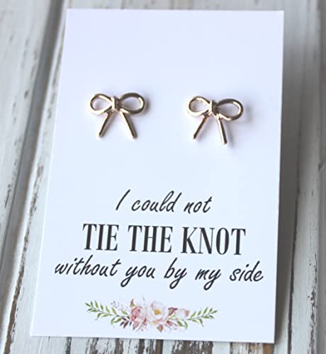 61b5759cc4 FREE SHIPPING. Rose Gold or Silver Plated Bow Earrings. I Could Not Tie The  Knot Post Stud Earrings Bridesmaid Maid of Honor Bridal Wedding
