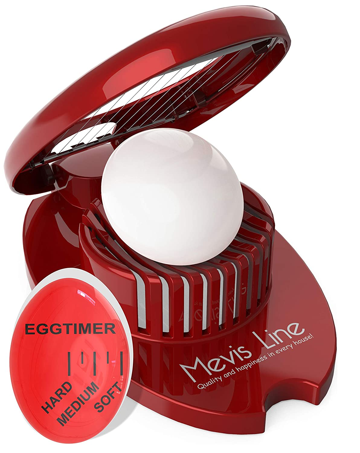 Hard Boiled Egg Slicer with Perfect Boilled Egg Timer, Also Used For Strawberries, Boiled Potatoes Or Mozzarella Balls, Egg Dicer with Egg Timer That Changes Color When Done