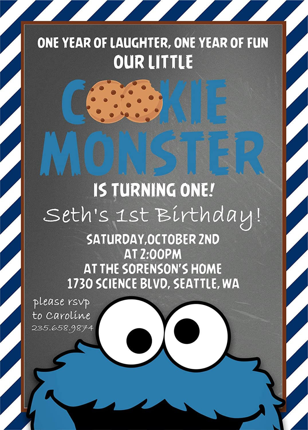 Amazon Cookie Monster Birthday Party Invitations With Envelopes