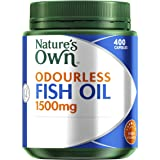 Nature's Own Odourless Fish Oil 1500mg - Source of Omega-3 - Maintains Wellbeing - Supports Healthy Heart & Brain, 400 Capsules