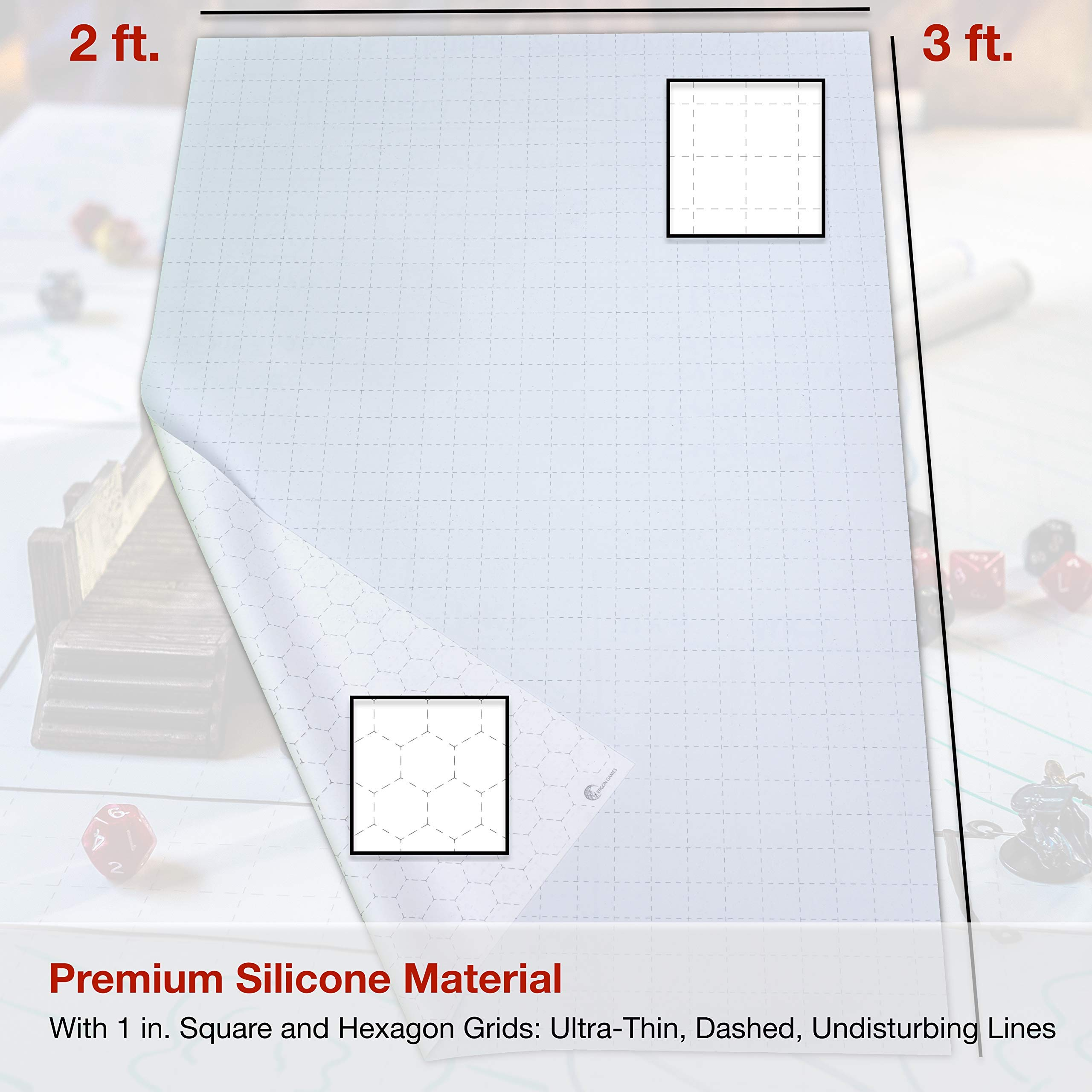Battle / Game Mat for DnD / D & D Map | Dry Erase, Non-Staining SILICONE, Fold/Rollable, Non-Crease | 1 inch Square / Hex Grid | 3 x 2 ft. | Play Dungeons and Dragons, Warhammer 40k, RPG Tabletop by Ergon Games (Image #6)