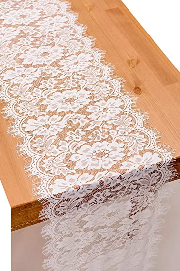 Crisky 14x120 Inch White Lace Table Runner Boho Wedding Reception Table Decoration Baby Bridal Shower Party Decor