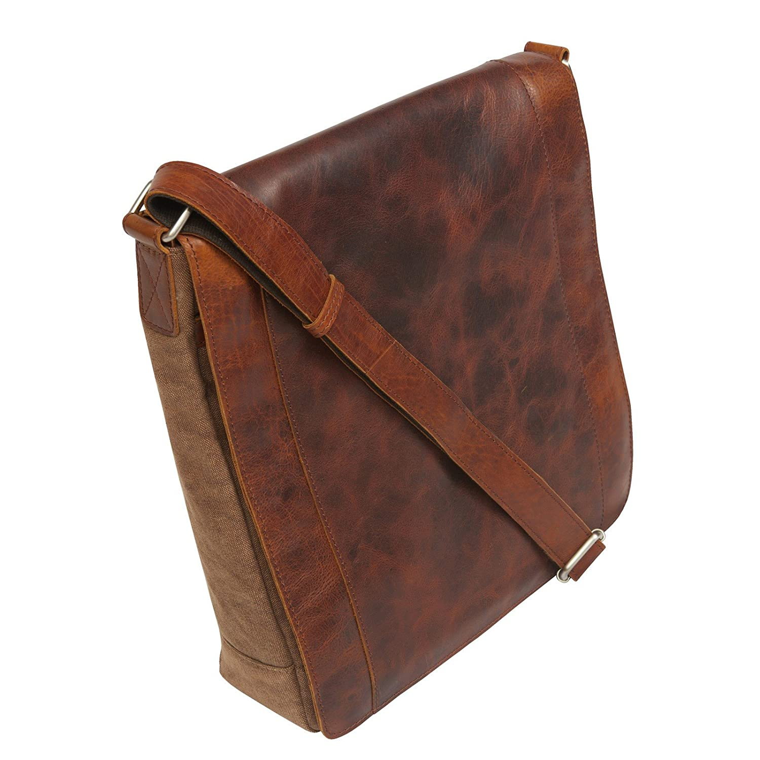 Canyon Outback Leather CY146 Ringtail Canyon Leather and Canvas Messenger Bag, Brown B00FV0YR8K