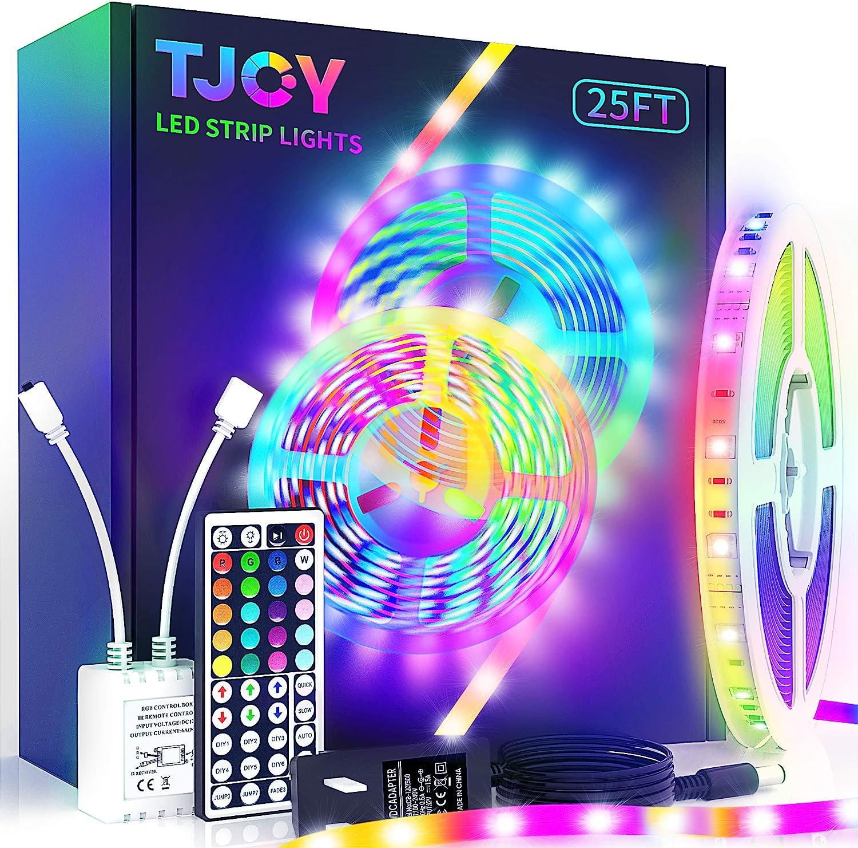 TJOY LED Strip Lights with 44 Key Remote 25 ft, Multi Color RGB SMD5050 LED Lights ,12 Volt Color Changing LED Light Strip for Bedroom,Room, TV,DIY Decor(44 Key Remote Control +25ft x1+Indoor only)