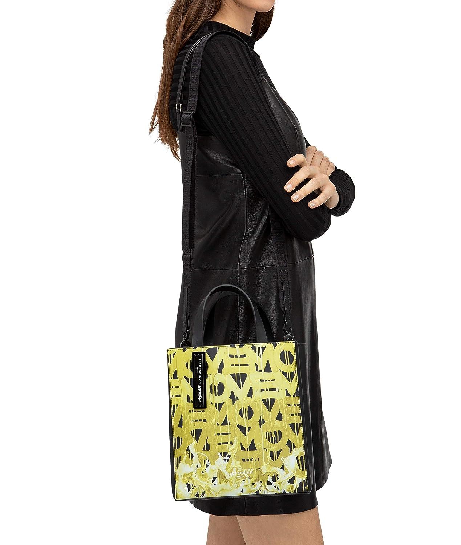 Kärlekskinn Berlin dam Stohead Paper Bag Tote axelväska, 20,5 x 25 x 11,5 cm Svart med gyllene oliv