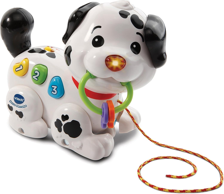 VTech Perruno, Arrastre Interactivo con Forma de Perro con Voz Frases Sonidos y Melodias, Multicolor, Talla Única (3480-502822)