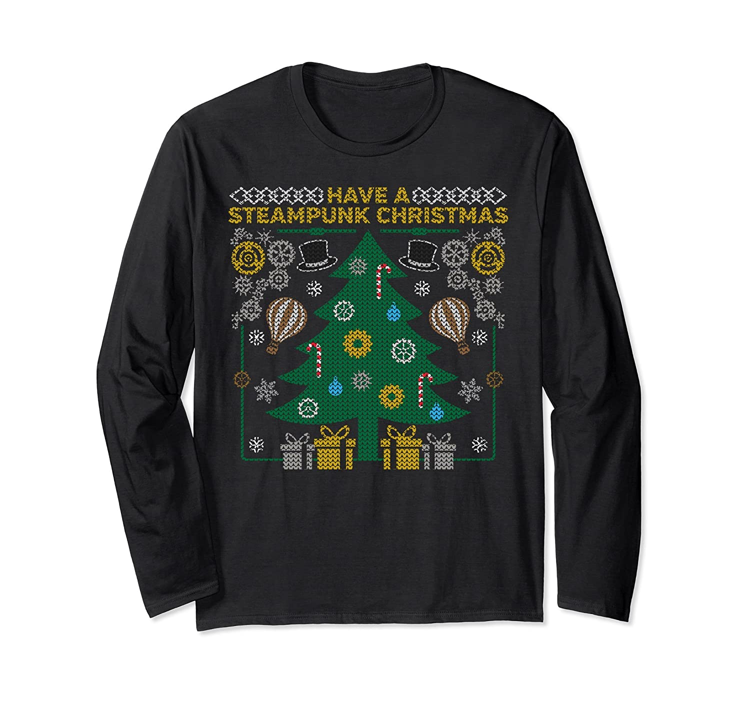 Steampunk Tree Tacky Xmas Sweater Long-Sleeve T-Shirt Gears