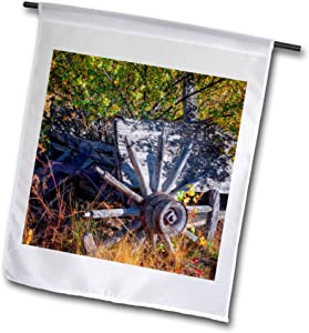 3dRose Mike Swindle Photography - Landscapes - Old Wagon Wheel - Flags (fl_330268_1)