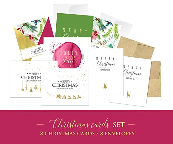 Amazon.com: Christmas Card Set of 8, Christmas Cards 2017, Happy New ...