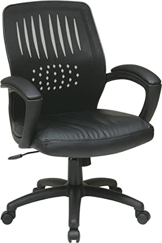 Office Star Screen Back Over Designer Contour Shell Managers Chair with Eco Leather Seat and Eco Leather Padded Arms, Black
