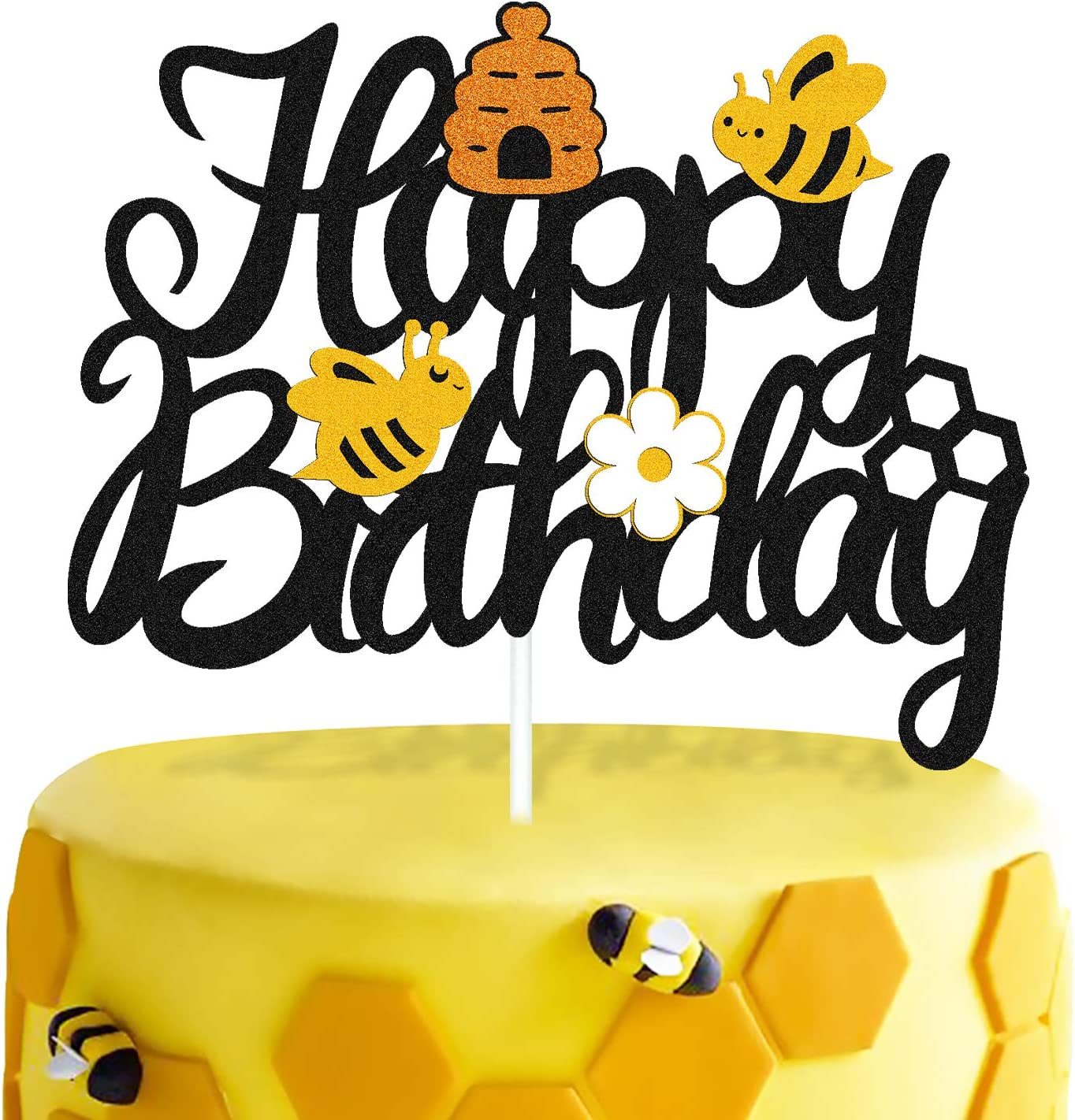 Bee Birthday Cake Topper Bumble Bee Themed Cake Decorations for Kids Girl Boy First One Year Old 2ND Happy Birthday Party Supplies Double Sided Glitter Black
