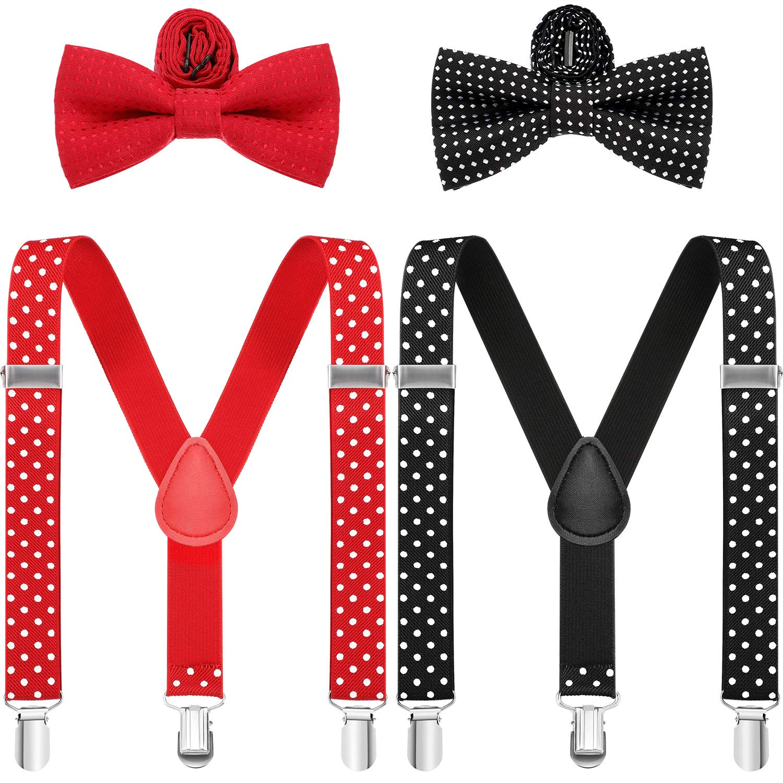 4 Pieces Kids Valentines Day Suspenders Bowtie Set Polka Dot Adjustable Suspender and Bowtie
