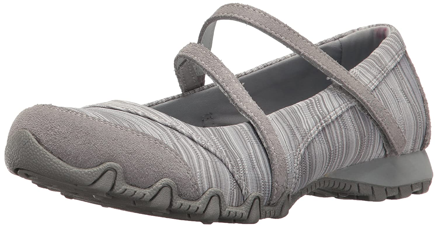 Skechers Women's Bikers-Ripples Mary Jane Flat and Women's Bikers-Clocked Mary Jane Flat No Memory Foam B01MA58EI3 7 B(M) US|Grey Knit