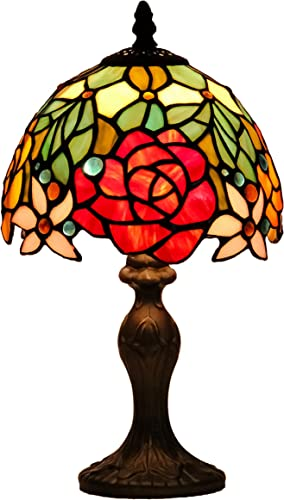 GlassMyth Lighting Tiffany Table Lamp W8H14 Inch Red Rose Stained Glass Shade Light Antique Base