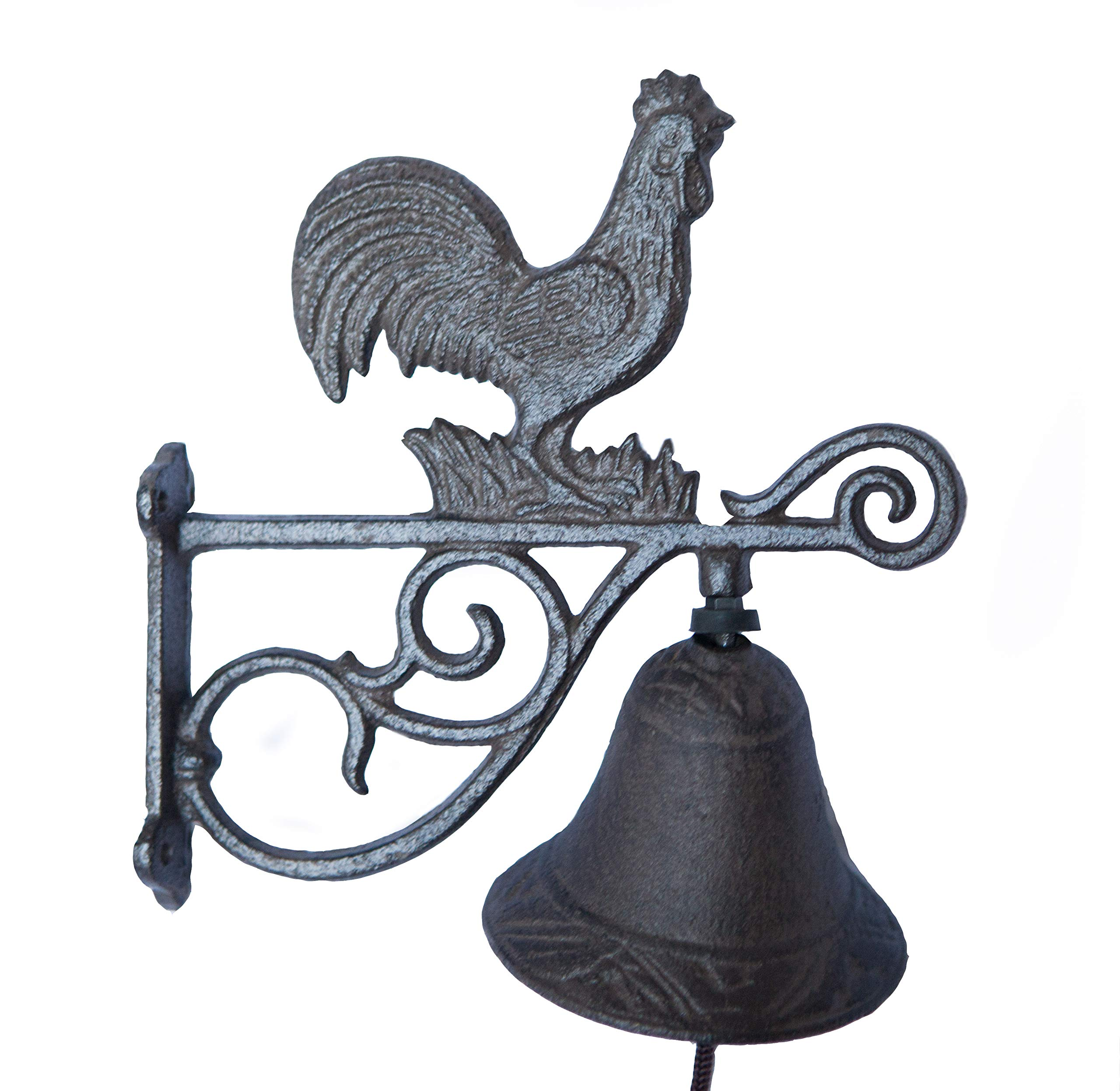 Hit Delights Cast Iron Rooster Chicken Bell on Rod. for Farm, Ranch, Cabin Decoration. by Hit Delights