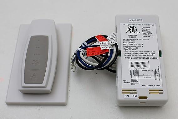 Hunter Universal 3 velocidades ventilador de techo control 99110 ...